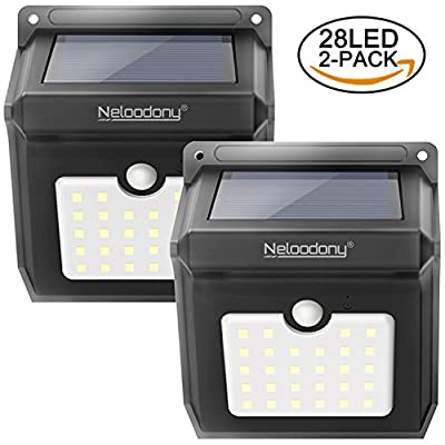 Wireless Solar Motion Sensor Light Waterproof Security Lights with 28 LEDs, Powerful Safelight for Outdoors, Outside Wall, Garden, Patio, Yard, Pathway Weatherproof Outdoor Lighting by Neloodony