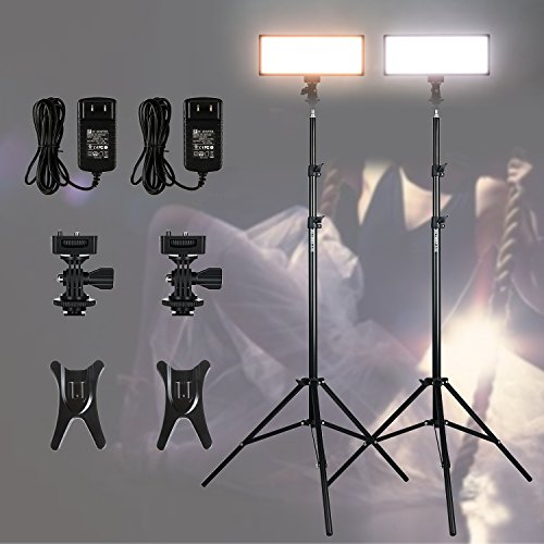 ( 2 pack) VILTROX video lighting kit,L132T LED Light with light Stand, 2m AC adapter, 0.78