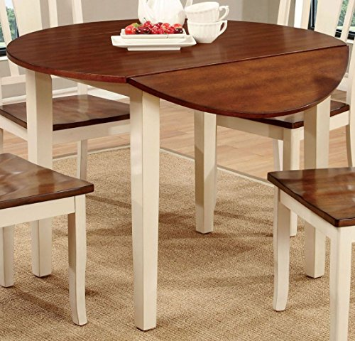 Furniture of America CM3326WC-RT Dover II Drop Leaf Round Dining Table (Leaf Vintage Drop Table)