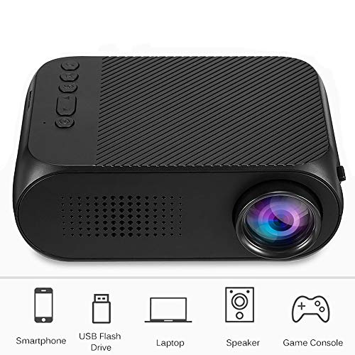 TRPYA Projector Portable Led Audio Projector USB Mini Projector Home Theater Media Player Projector (Color : Black)