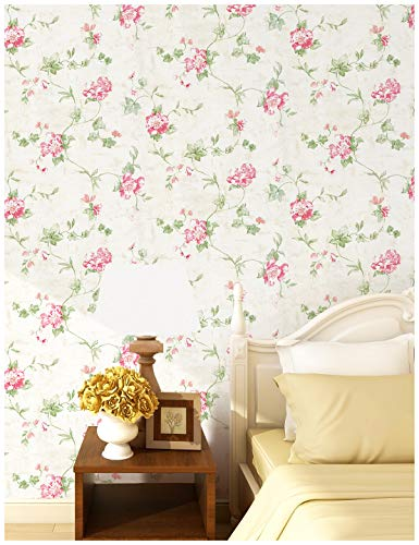 HaokHome 632664 Victoria Floral Wallpaper Peel and Stick Wall Murals Ivory/Pink/Green 17.7