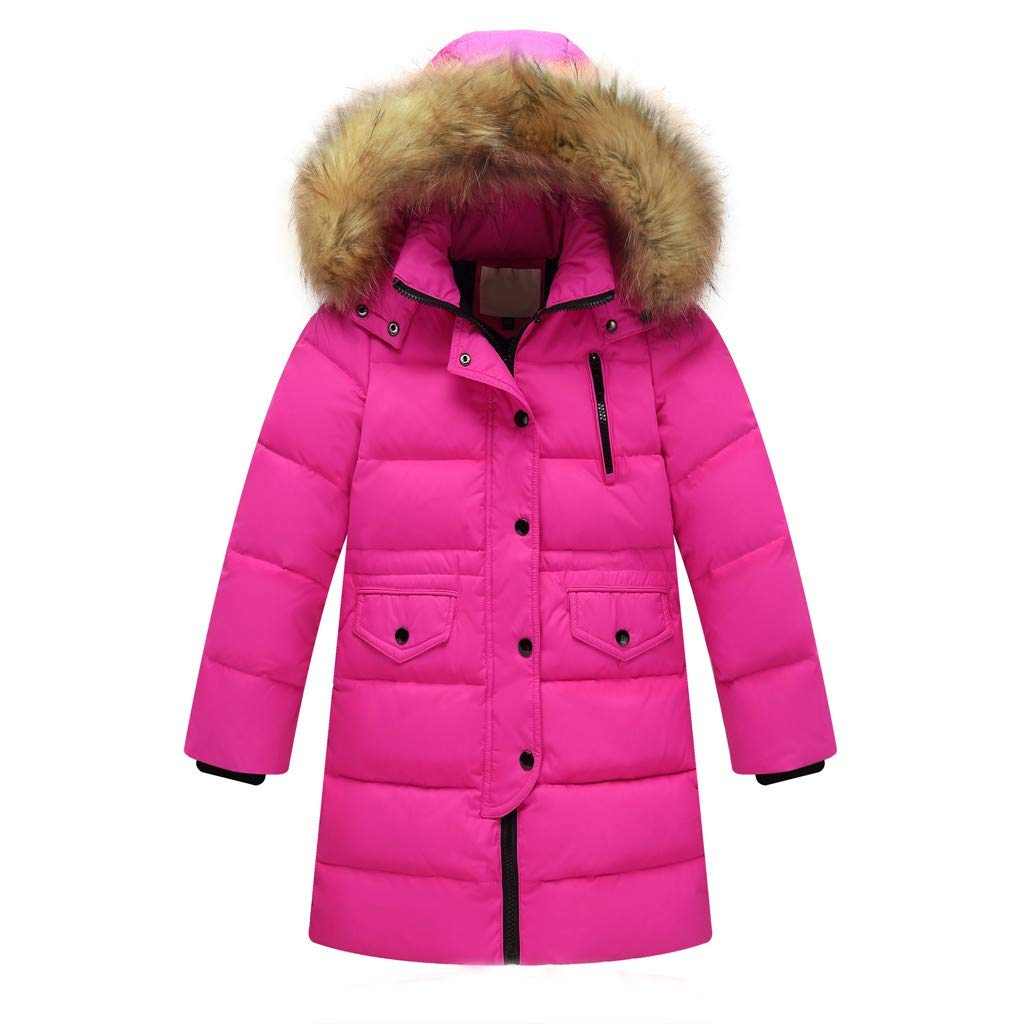 BFYOU Kids Girls Winter Faux Fur Hooded Parka Down Coat Puffer Jacket Padded Overcoat Hot Pink by BFYOU_ Girl Clothing