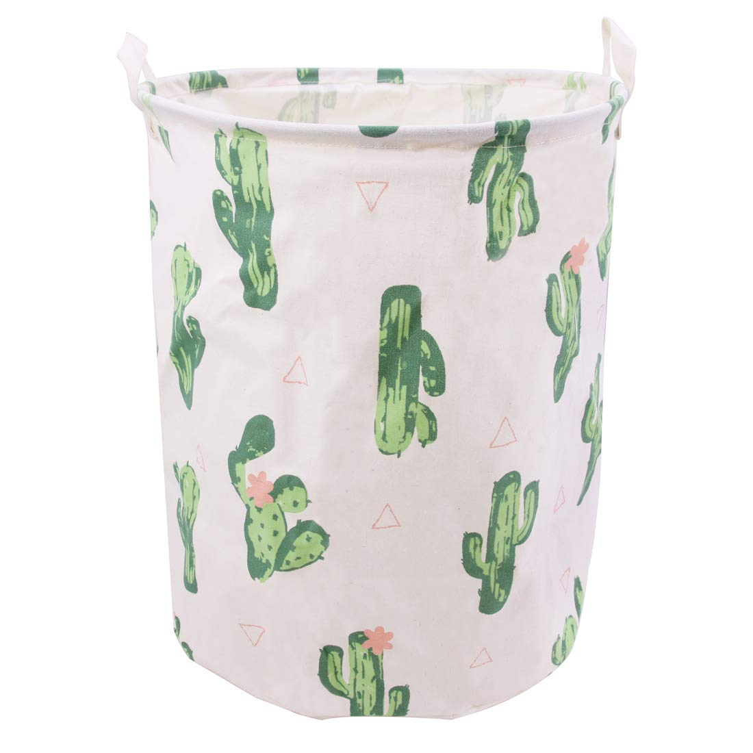 Jacone Large Laundry Basket Canvas Fabric Waterproof Cylindric Laundry Hamper Storage Basket with Handles, Decorative and Convenient for Kids Bedroom (Cactus)