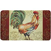 Floor Gallery Rooster Scroll Rug, Stain Resistant, Skid Resistant Kit, Kitchen Mat, 30 x 18