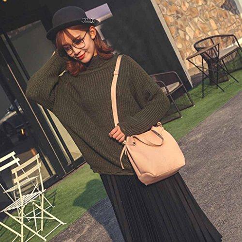 Coohole 2017 Fashion Women Leather Litchi Stria Handbag Crossbody Shoulder Bag+Clutch Wallet (pink)