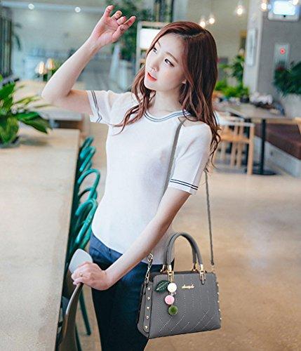 Baymate Moda Bolsos de Mujer Retro PU Cuero Bolso De Mano Clásico Bolsa De Hombro Crossbody Bolsas Gris