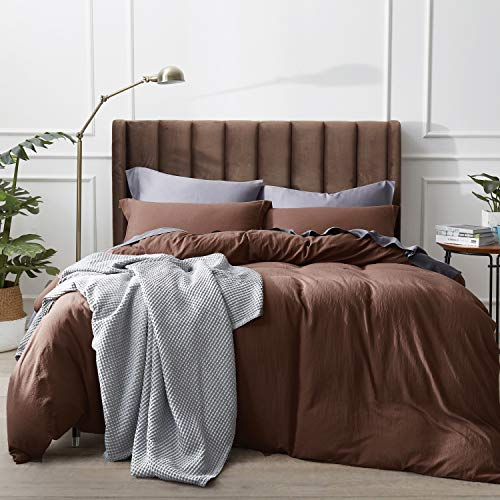 Bedsure Washed Duvet Cover Full/Queen Size Set with Zipper Closure, Ultra Soft Hypoallergenic 3 Pieces Comforter Cover Sets (1 Duvet Cover + 2 Pillow Shams), 90x90 inches, Coffee Brown