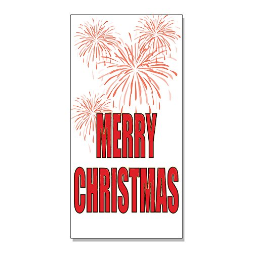 Merry Christmas Holly Mistletoe Bells DECAL STICKER Retail Store Sign - 14.5 x 36 inches