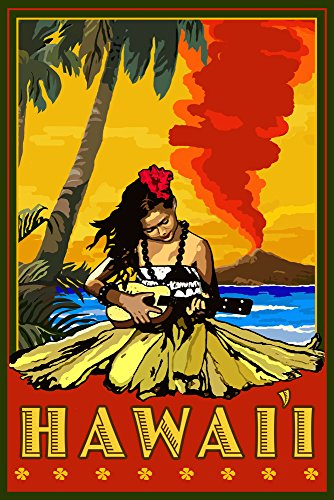 Hula Girl and Ukulele Hawaii Travel Poster