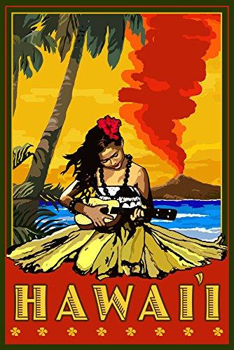 Hula Girl and Ukulele Hawaii Travel Poster
