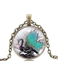 Vintage Dragon Pattern Art Pendant Glass Time Gem Chain Necklace Christmas Gift for Women Mens