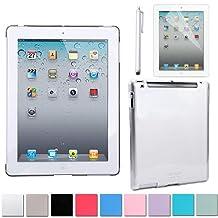 HDE Clear Color iPad Hard Case Plastic Back Cover + Screen Protector + Stylus Pen for iPad 2 iPad 3 iPad 4 (iPad 2/3/4, Clear)