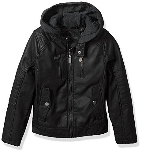 Urban Republic Little Boys' Moto Jacket with Fleece Hoodie, Black, ()
