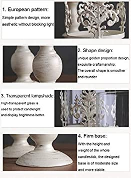 Pcs of 2 Vintage Metal Pillar Candle Holder Antique Hurricane Candlestick with Glass Screen Cover Accent Display for Home Wedding Candlelight Dinner Decoration 13 /& 10.7 H