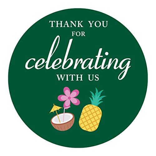 MAGJUCHE Luau Hawaiian Thank You Stickers, Summer Tiki Beach Pool Pineapple Party Sticker Labels for Favors, Decorations, 2 Inch Round, 40-Pack]()