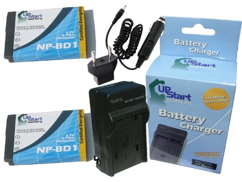 2 Pack - Replacement for Sony NP-BD1 Digital Camera Battery and Charger Replacement with Car & EU Adapter (1000mAh 3.7V Lithium-Ion) - Compatible with Sony Cybershot DSC-T70 Cybershot DSC-T77 DSC-T200