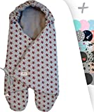 JANABEBE Swaddling Wrap, Car Seat and Pram Blanket Universal for Infant and Child car Seats e.g. Maxi-COSI, Britax, for a Pushchair/Stroller, Buggy or Baby 0 to 11 Months (Chalk Star, Fleece)