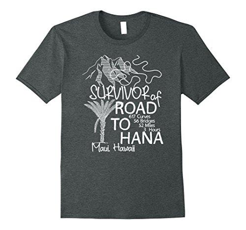 Mens Road to Hana Survivor T-Shirt Maui Hawaii Trip Tee Gifts XL Dark - Road Maui Trip