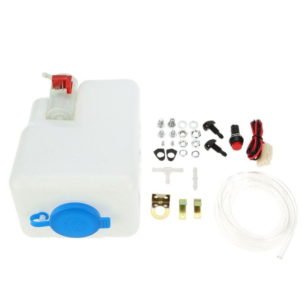 SODIAL Kit de deposito de bomba de lavador de parabrisas universal/deposito de liquido con bomba
