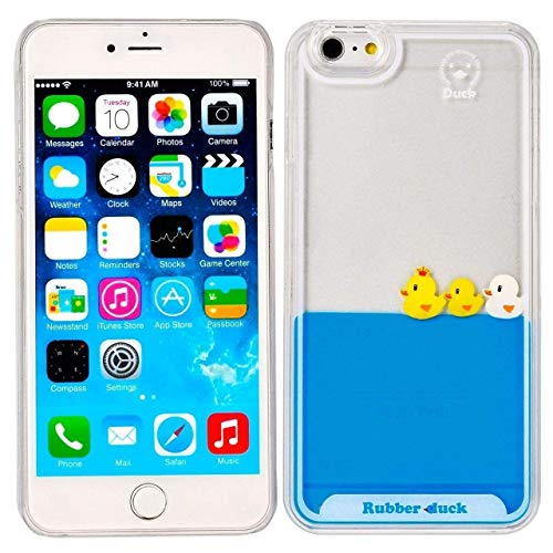 iPhone 8 Case,Creative Design Ducks Swimming in Blue Water Floating Liquid Transparent Hard Back Case with Soft TPU Edge Cover for Apple iPhone 8 4.7 inch (Fish And Water Iphone Case)
