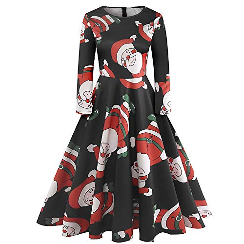 Seaintheson Womens Christmas Dress Long Sleeve Casual A Line Xmas Party Skirt Elegant Cocktail Swing Dress