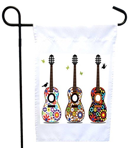 Rikki Knight Hippy 60's Flower Power Guitars Design Decorative House or Garden Flag 12 x 18 flag size with 11 x 11 inch image (Proudly Printed in the USA) ()