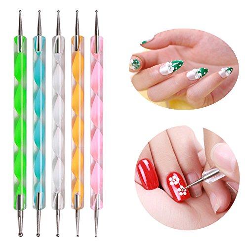 JOYJULY Nail Art Kit contains 30 Striping tape & 4Pcs Striping Roller Box & 12 Colors Rhinestones & 5pcs Dotting Pen & 15pcs Brush Set 8