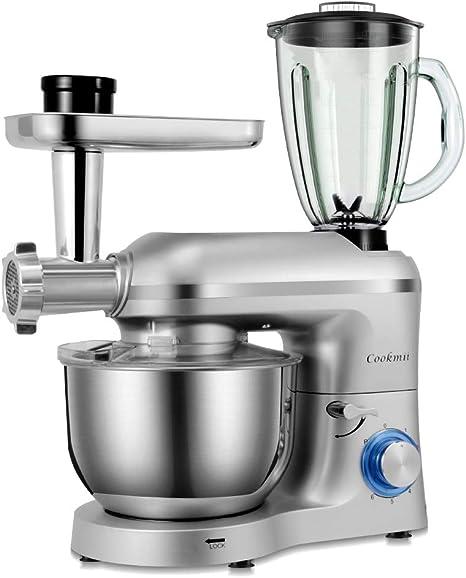 Cookmii 1800W Robot de Cocina Multifunción 3-En-1, Batidora Amasadora Reposteria, Picadora, Batidora de Vaso,con Un Tazón De Acero Inoxidable, 5.5 L, Plata: Amazon.es