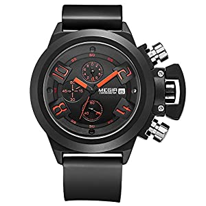 Megir Branded New Fashion Men' s Watch Silicone Band Sports Quartz Wristwatch Analog Display Date Chronograph Black/White Relogio Masculino