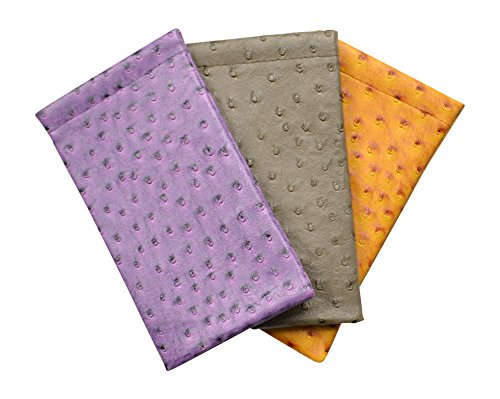 3 Pack Soft Squeeze Top Slip In Eyeglasses Case And Holder In Faux Ostrich Leather, Gray/Purple/Mustard (Ostrich Purple Leather)
