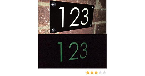 LUMINOUS GLOSS BLACK MODERN HOUSE NAME DOOR NUMBER PLAQUE GLOW IN THE DARK XL
