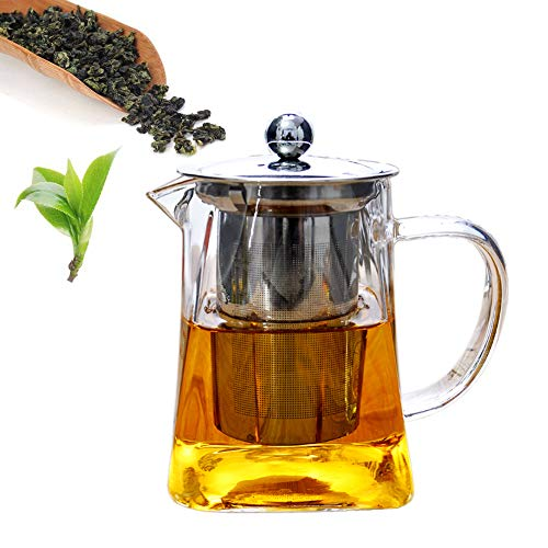 Square Teapot 304 stainless steel filter Infuser,hot & cold water,anti-explosion,Lid,Tea Strainer Heat Resistant Clear kettle,Water storage jar,Green,Jasmine,Flowers,Black - Iron Cast Infuser Square