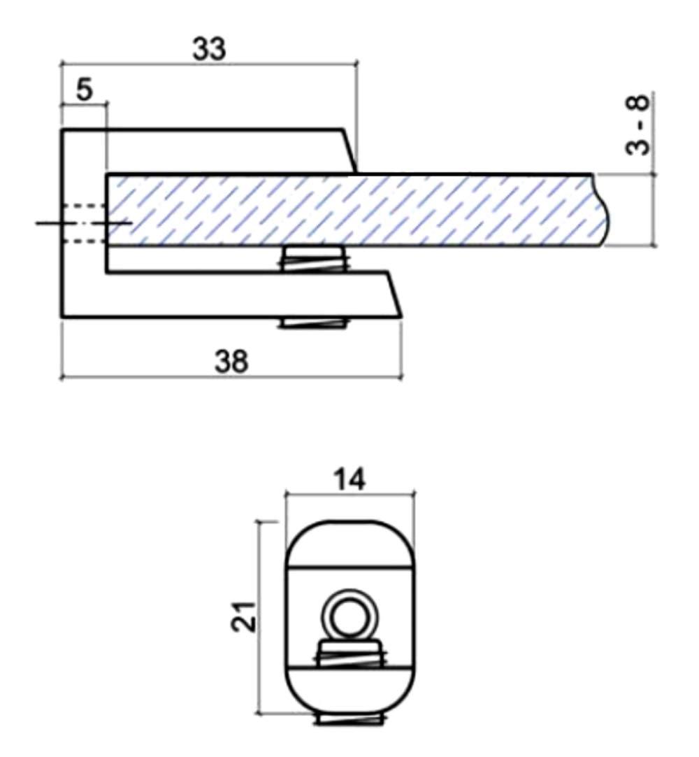 4x Soporte para estante de cristal vidrio 3//8mm met/álico cromo C41699 AERZETIX