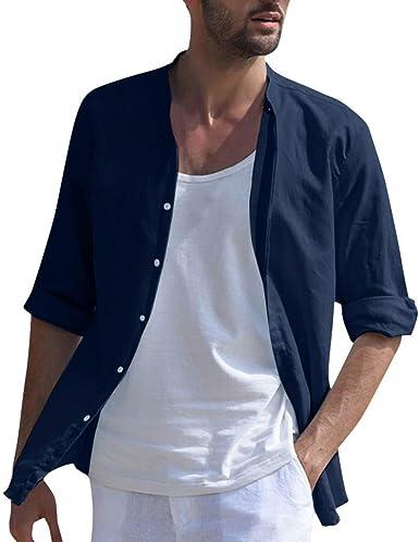 SoonerQuicker Camisa de Hombre T Shirt Blusa de Lino Holgada para Hombre Color sólido Manga Tres Cuartos Camisas con Cuello Alto Blusa tee: Amazon.es: Ropa y accesorios