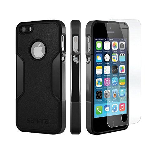 iphone-se-case-iphone-5s-5-se-black-saharacase-protective-kit-bundled-with-tempered-glass-screen-pro