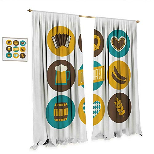 German Patterned Drape for Glass Door Bavarian Oktoberfest Themed Symbols Pretzel Beer and Accordion Window Curtain Fabric W120 x L84 Earth Yellow Teal and Brown.jpg
