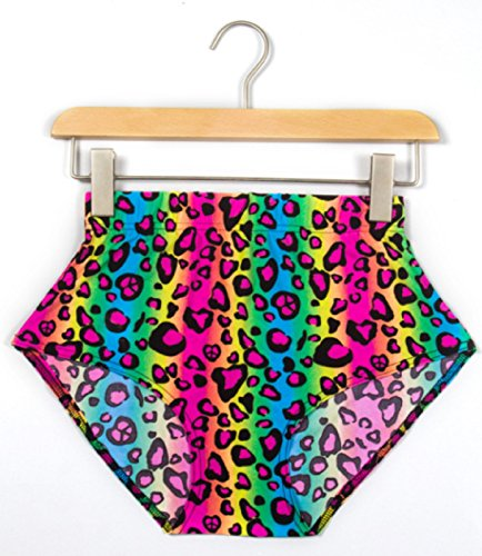 [Neon Rainbow Animal Leopard Print Short Shorts Sexy Spandex Rave Costume Pants (Medium)] (Sexy Leopard Costumes)