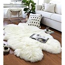 XL Really Soft Genuine Sheepskin Rug, Four Pelt , 4 Skins Natural Fur white/ivory Quarto ( 7ft.-4.5 ft. ) DYSO-0003