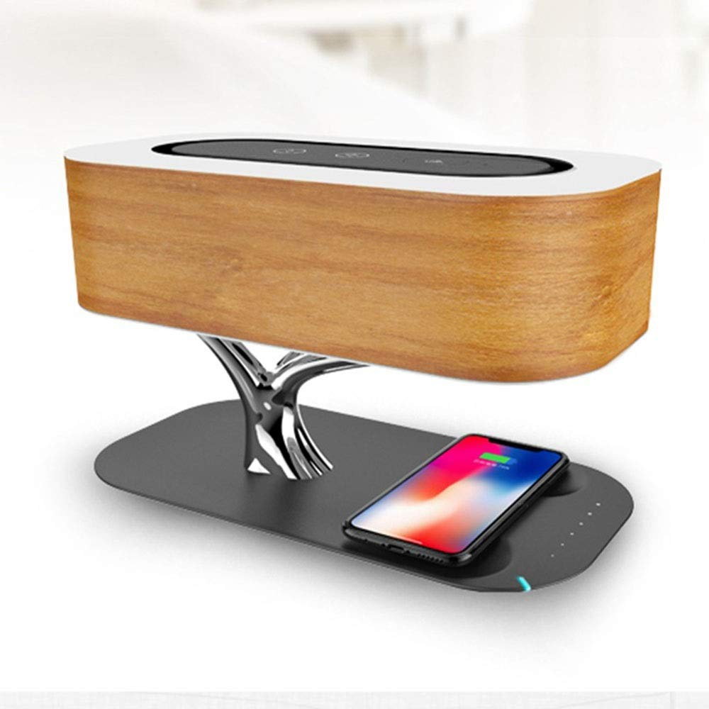 Youtree Bedside Lamp with Bluetooth Speaker and Wireless Charger, Tree Lamp with Built in Wireless Charger and Bluetooth Speaker Light