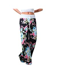 Paixpays Women's Casual Pajama Pants Floral Drawstring Palazzo Lounge Pants