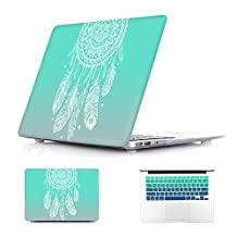 Batianda Dream Catcher Gradient Color Crystal Hard Sleeve Laptop Cover Case for Apple MacBook Air 13 inch [Models: A1369 and A1466] with Gradient Keyboard Cover - Tiffany Green