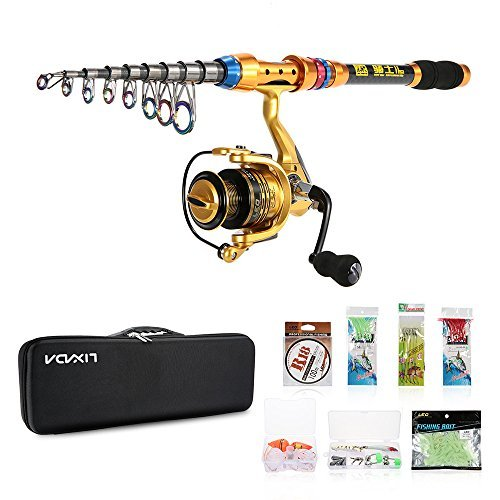 Cheap Lixada Spinning Rod and Fishing Reel Combos Kit Telescopic Fishing Rod Pole with Reel Line Lures Hooks,Fishing Carrier Bag Case,Fishing Gear Accessories (3.0m)