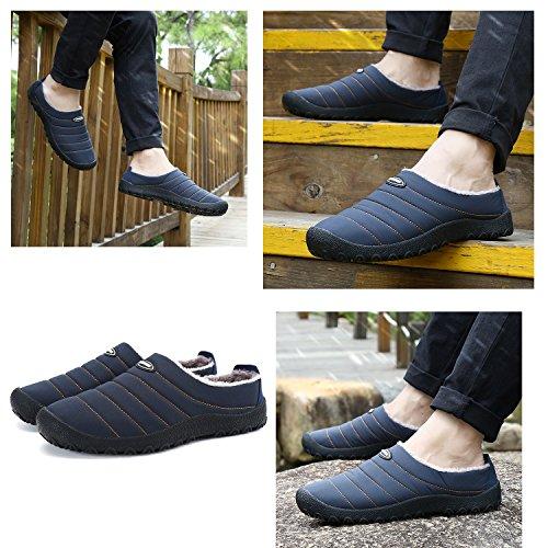 Xylxyl Männer Frauen Anti-Rutsch Mokassin Loafer Winter Warm Low Top Hausschuhe Schuhe mit vollständig Fell gefüttert Blau