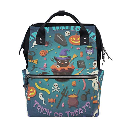 Diaper Bags Vintage Halloween with Cupcake Fashion Mummy Backpack Multi Functions Large Capacity Nappy Bag Nursing Bag for Baby Care for Traveling -