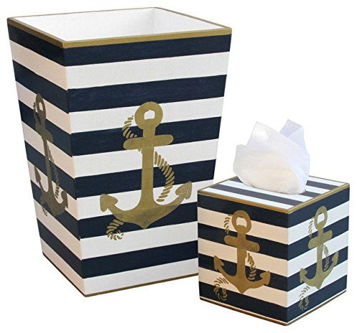 Hand Painted Wooden Wastebasket and Tissue Box Set - Gold Anchor