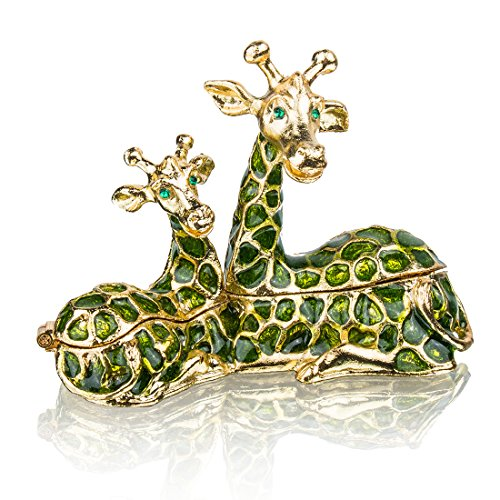 Sitting Mum and Baby Giraffe Ring Holder Hinged Trinket Boxes for Gifts ,Jewelry Boxes Organizer Holder