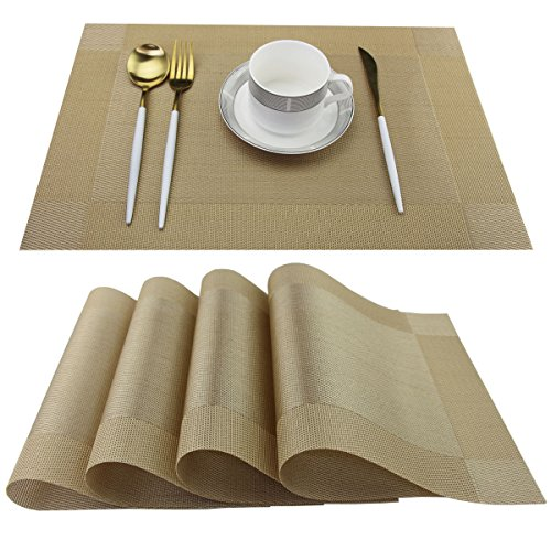 Nice Garden Placemats Easy to Clean Plastic Kitchen table place mats Washable PVC Woven Vinyl Placemat for Dining Table Mats Set of 6(Gold, 6)