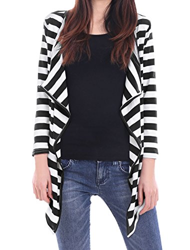 Allegra K Ladies Opening Front Bracelet Sleeves Striped Leisure Cardigan, Black/White, L (US 14) (Striped Cardigans For Women)