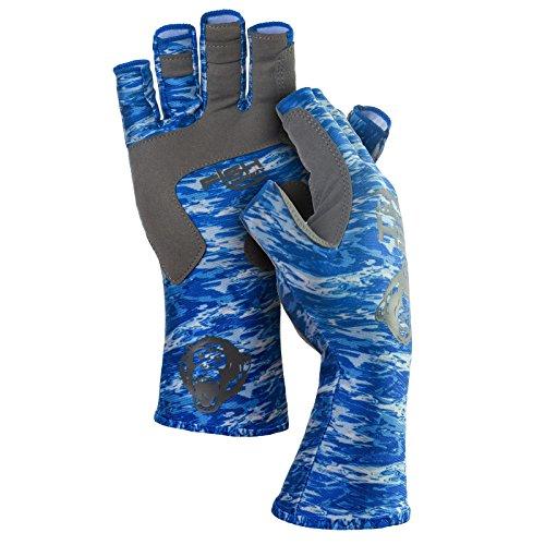 Fish Monkey Half Finger guide glove, Blue Water Camo, L