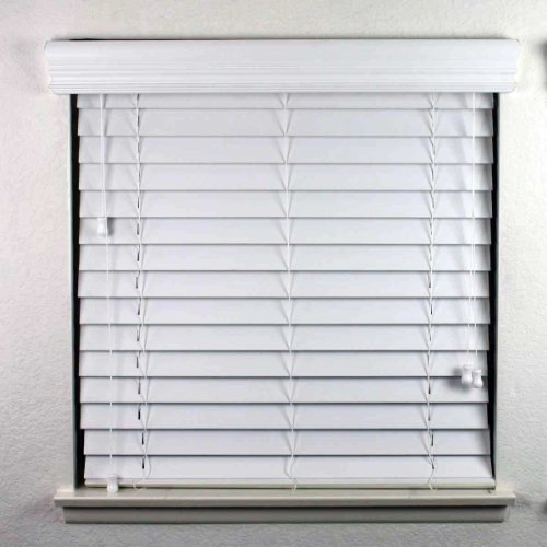 2 inch faux wood blinds oak levolor cordless menards amazon inches in white with premium upgraded crown valance fascia home kitchen